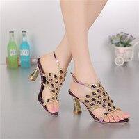 한국어 스타일의 다이아몬드 크리스탈 럭셔리 샌들 하이힐 로마 여자 보라색