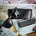 Beauty Ladies Sunglasses Plus Glasses Case Big Round Fashion Metal Eyewear 4 Color Anti UV Driving Travel Glasses