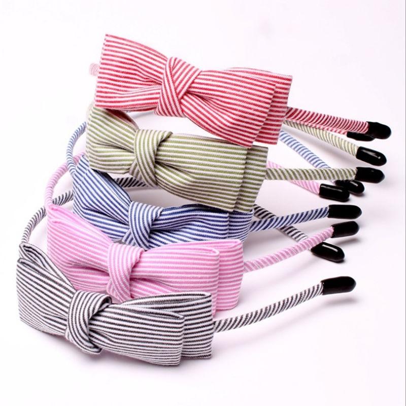 New Stripe Fabric Scrunchy Kvinnor Girls Turban Headband Hair Head - Kläder tillbehör - Foto 1