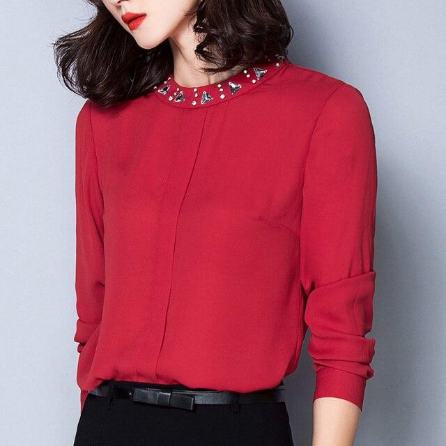 2016 Новая Весна Корейских Женщин Блузка С Длинным Рукавом Сплошной Цвет шифон Рубашка Плюс Размер Повседневная Женщины Топы Горячая Продажа 160A 25