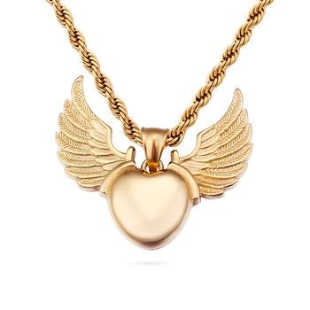 26eea089b097 Alas de Ángel COLLAR COLGANTE oro titanio acero corazón collar Acero  inoxidable hombres y mujeres colgante