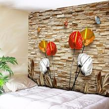 Flowers Decorative Bohemian Tapestry Butterfly Wall Hanging 3D Wall Brick Home Decor Hippie Art Wall Blanket Yoga Rug Tablecloth