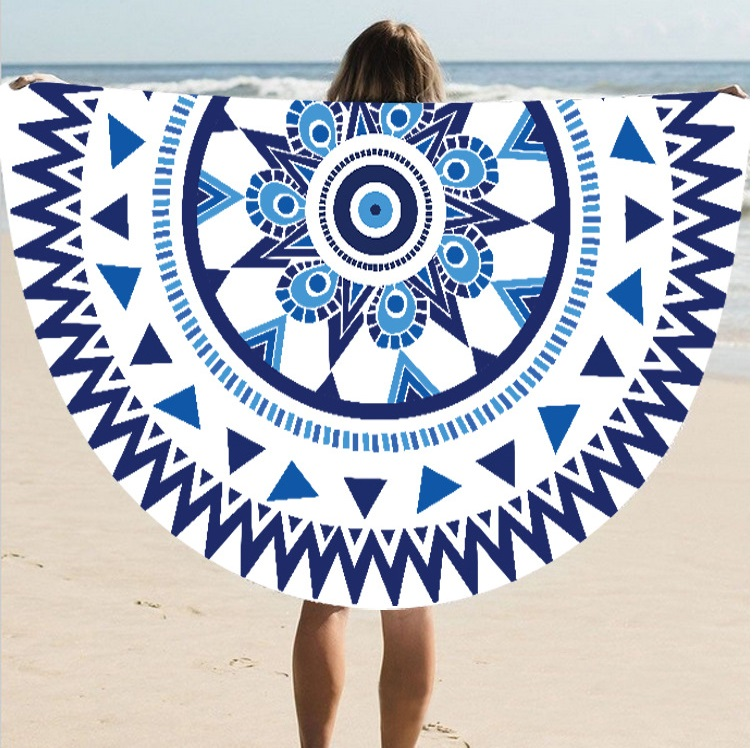 Manufacturers Direct European And American Style Silk Round Digital Printed Beach Towel St06-53