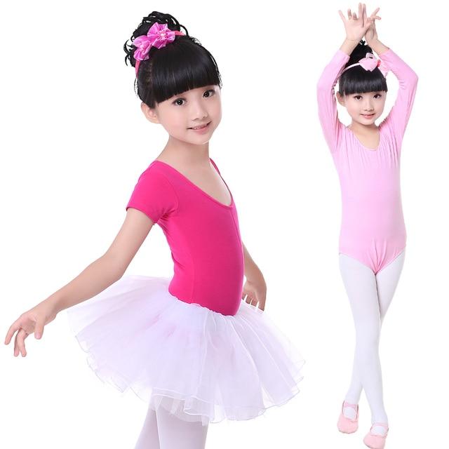 e9c8bd691 Hot Sale Pink Long Short Sleeve Cotton Kids Children Toddler Dance ...