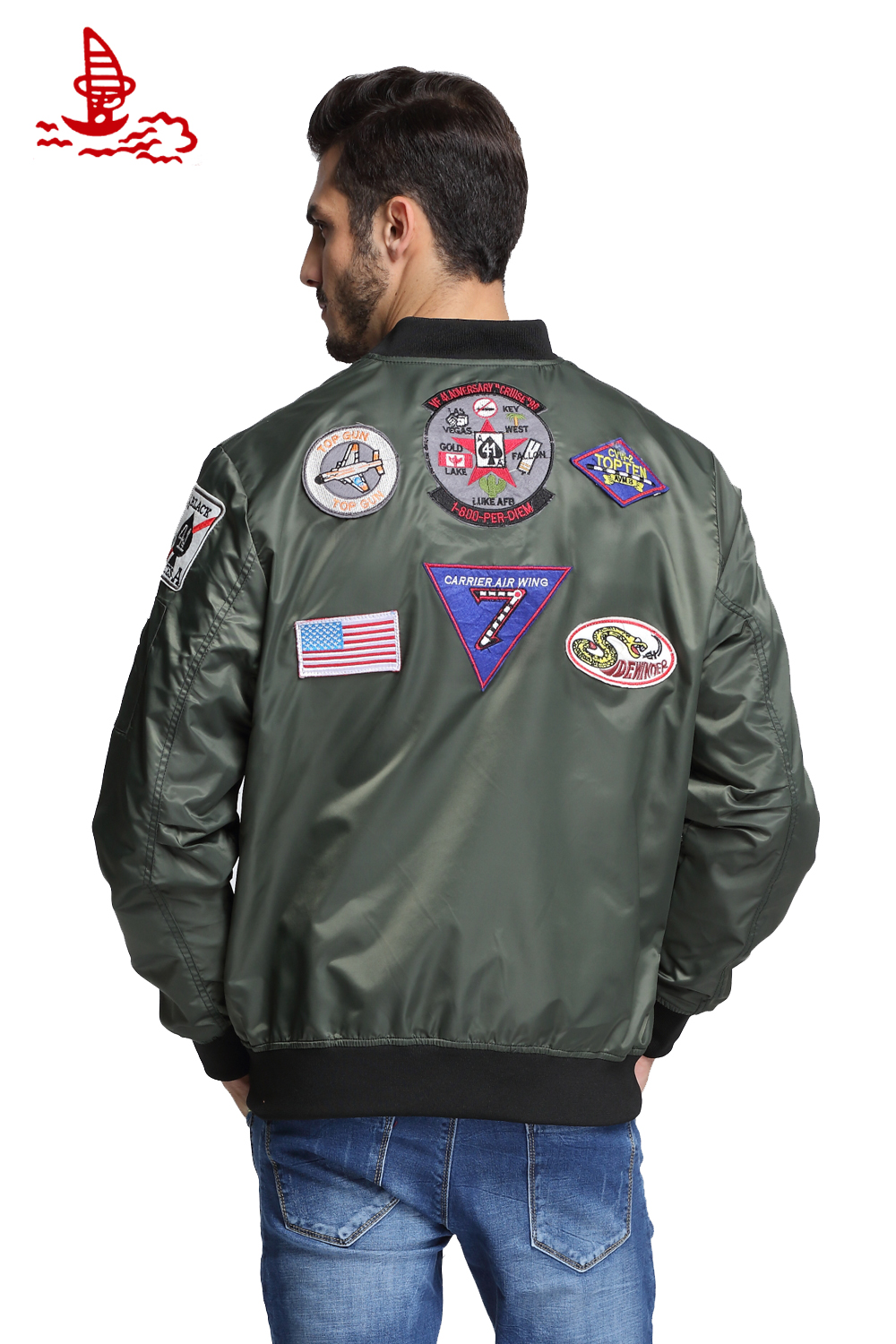 Leather jacket patches - Aliexpress Com Buy 11 Patches Ma1 Top Gun Navy Flying Jacket Military Army Green Hip Hop Streetwear Letterman Varsity Bomber Flight Jacket For Men From