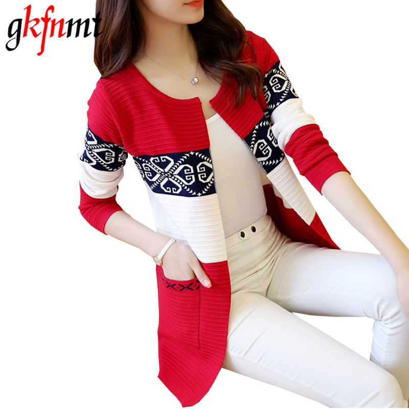 Women Cardigans Vintage Print Women Spring Autumn Medium-long Cardigan 2018 New Female Fashion Pocket Knitted Outerwear Sweater