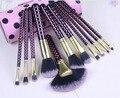 Comercio al por mayor 50 unids/lote bh color púrpura 11 unids de cepillo del maquillaje herramientas maquillaje kit del artículo de tocador de lana marca maquillaje pinceles set caso
