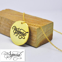 Wholesale Gold Disc Necklace Engraved Signature Personalized Hand Stamp Handwriting Pendent Custom Silver Jewelry Gift