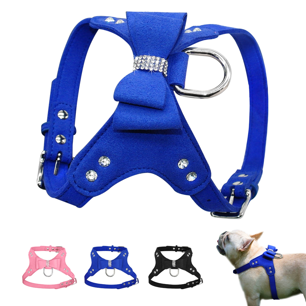 Suede Leather Puppy Dog Harness Soft Small Medium Pet Dogs Harnesses Vest Bowknot & Bling Rhinestone Accessories Pink S M L
