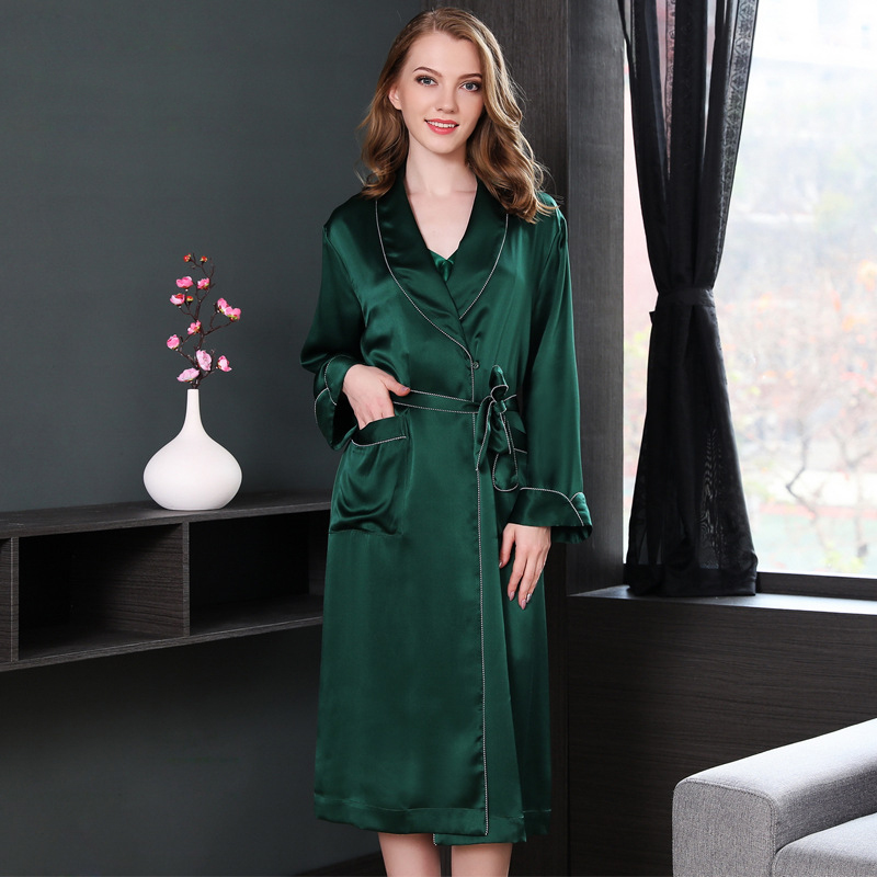 288160e92e Detail Feedback Questions about 19 momme Noble 100% Genuine silk robes for women  elegant Sexy atrovirens wedding kimono for women nightwear bathrobe bride  ...