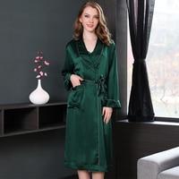 19momme благородный 100% натуральная шелковые халаты для женщин элегантные пикантные Atrovirens Свадебные кимоно для женщин Ночное халат невесты
