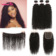 Malaysian Hair Bundles with Closure Kinky Curly Bundles with Closure 100% human hair bundles with closure 8 - 28 30 Inch