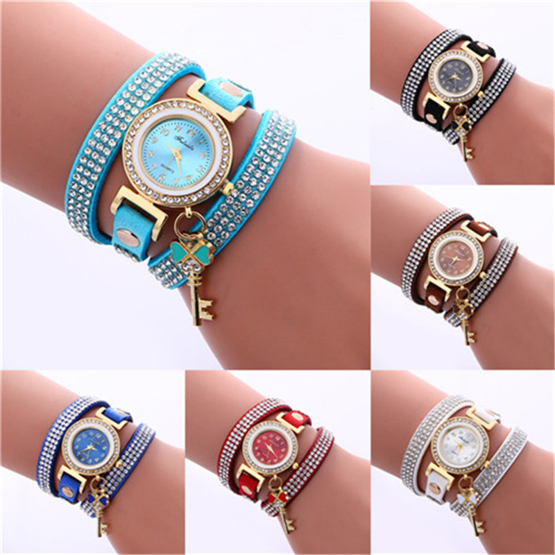 New Fashion Hot Sale Fashion Casual Wrist Watch Leather Bracelet Women Watches Rhinestone Artificia Leather Relogio Feminino high quality new winter jacket parka women winter coat women warm outwear thick cotton padded short jackets coat plus size 5l41