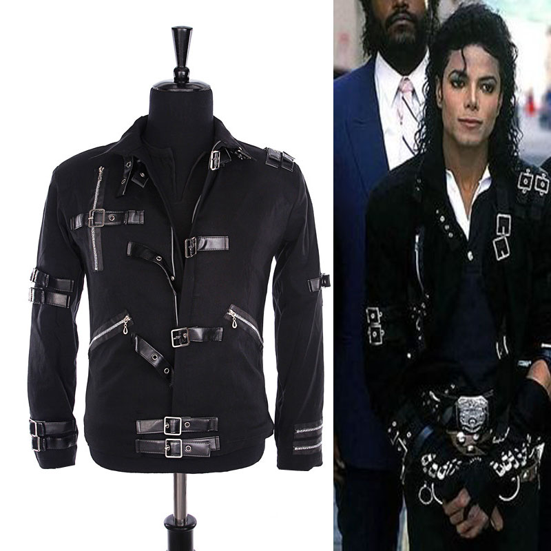 HOT MJ MICHAEL JACKSON MEN'S JACKET PUNK BAD BLACK JACKET FASHION COOL