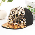 Punk Rivet Snapback Baseball Caps for Men and Women Bones Snapback Hats Hip Hop Summer Cap with Gold Chain and Eagle