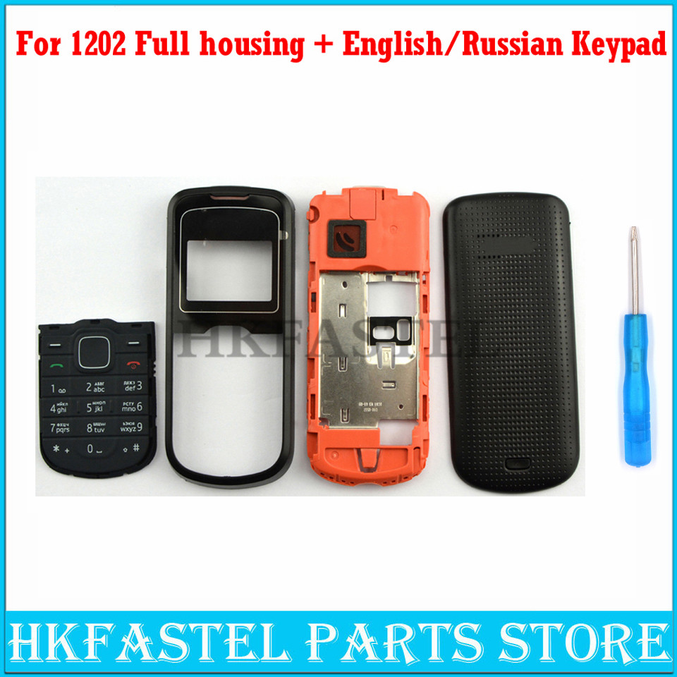 HKFASTEL New High Quality Cover For <font><b>Nokia</b></font> <font><b>1202</b></font> Full Complete Mobile Phone <font><b>housing</b></font> cover case English Russian Arabic Keypad Tool image
