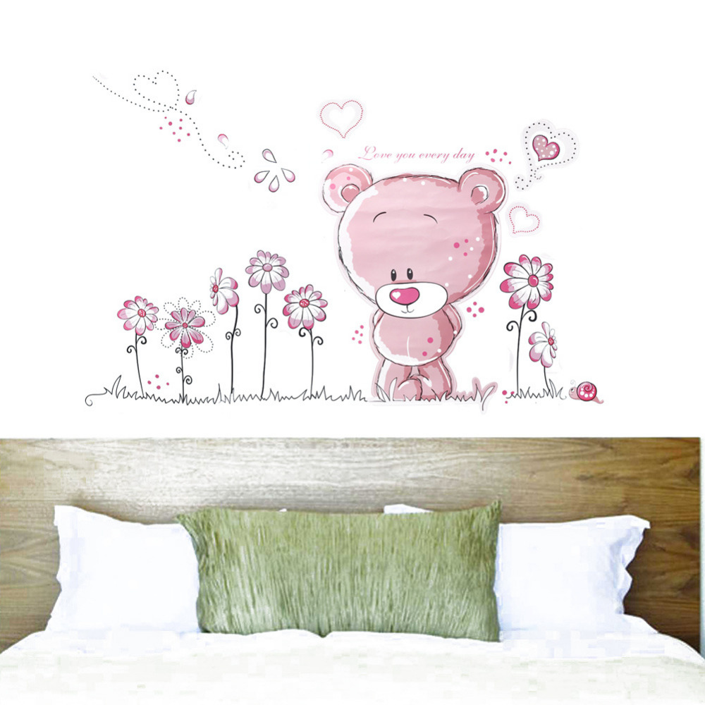 compare prices on baby girl wall decal online shopping buy low cut pink cartoon bear flower heart pattern wall decals pvc removable wall sticker for baby girls