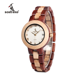 BOBO BIRD Ladies Timepieces Wood Watch Japan Move' 2035 Wooden Band Quartz Wooden Watches for Women relogio feminino C-M19