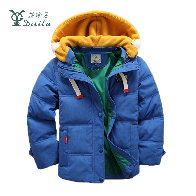 DISITU Brand 2017 Winter Down Jackets For Boys Long Sleeve Kids Outwear Boys Casual Warm Hooded Jackets Children Coat For 3-11Y
