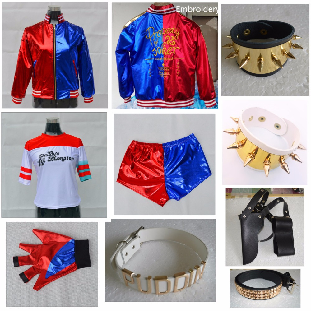 Suicide Squad Batman Cosplay Costumes Harley Quinn Monster T Shirt Top Jacket Pants Wrist Guards Accessories Full Set