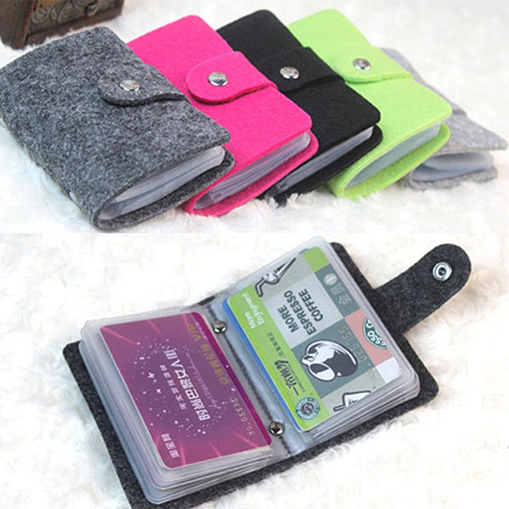 Vintage Women's Men's ID Credit Card Button Case Holder Wallet Organizer Gift
