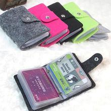 Vintage Womens Mens ID Credit Card Button Case Holder Wallet Organizer Gift cheap Card ID Holders 41205 SANWOOD Unisex 10cm Hasp Felt Fashion Solid