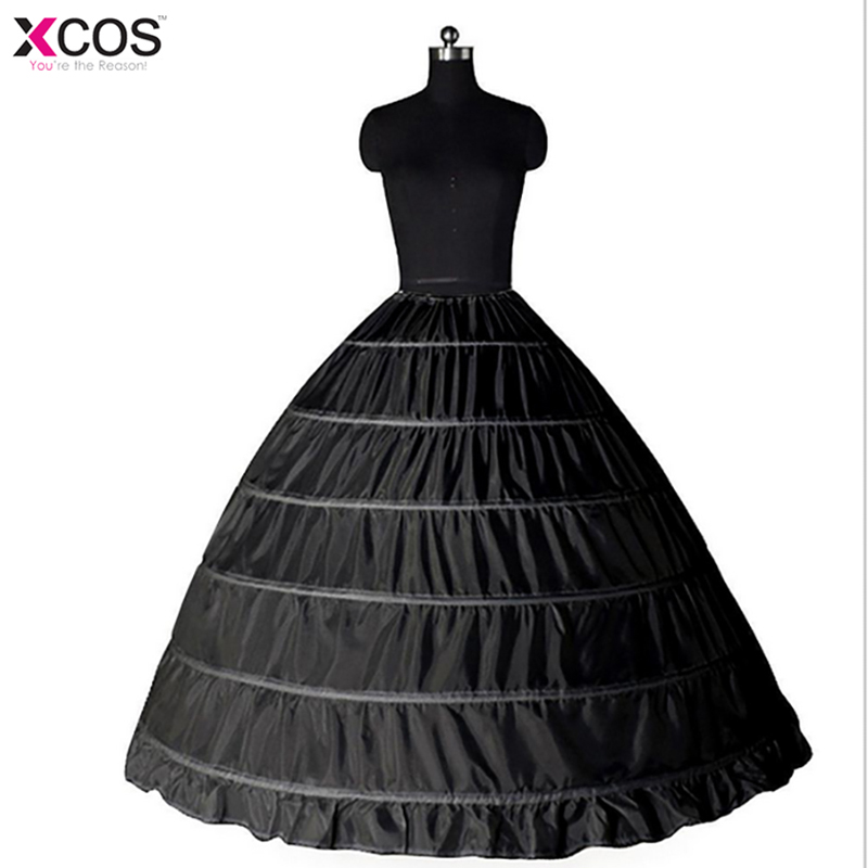 New Lace Edge 6 Hoops Petticoats Bustle for Ball Gown Black Wedding Dresses Underskirt Bridal Accessories