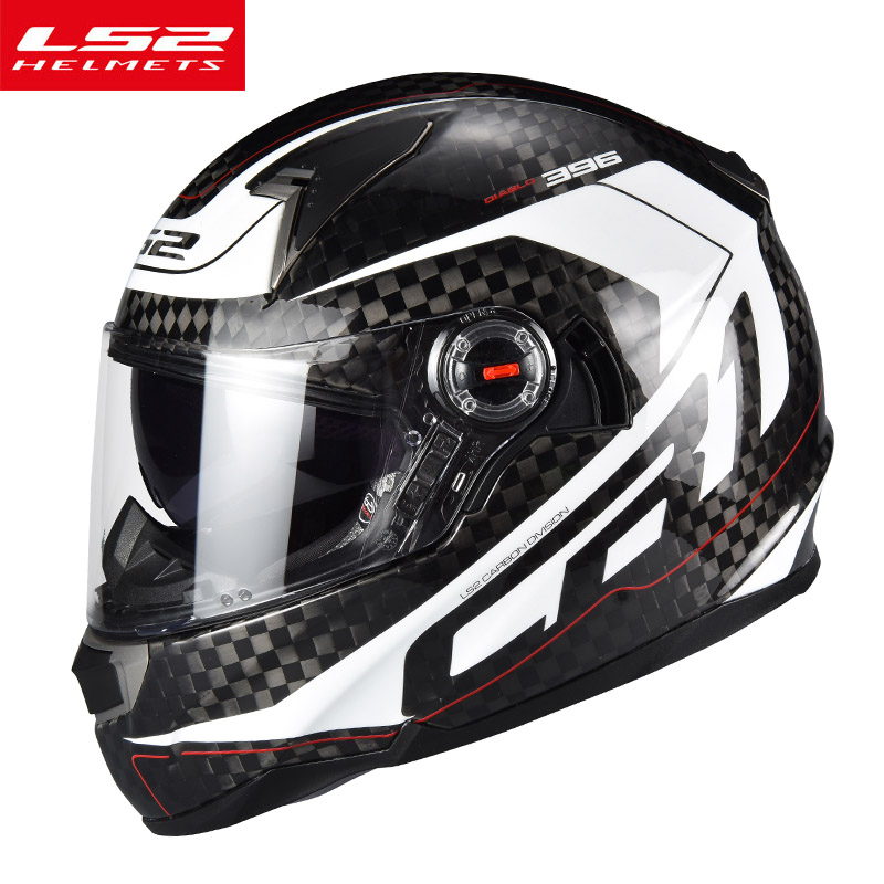 LS2 FF396 full face motorcycle helmet new 12k carbon fiber reinforced shell fashion moto racing street motorbike helmets