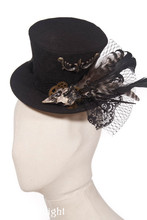 Mens Gothic Black Bird Feather Steampunk Top Hat Nobility Fedoras Hat Halloween Costume Hat