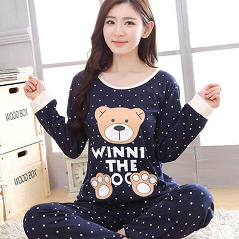 2018 Women's Cartoon Print Long Sleeves O Neck Autumn Winter   Pajama     Sets   Cartoon Sweet Loose Round Neck Sleepwear Full Length