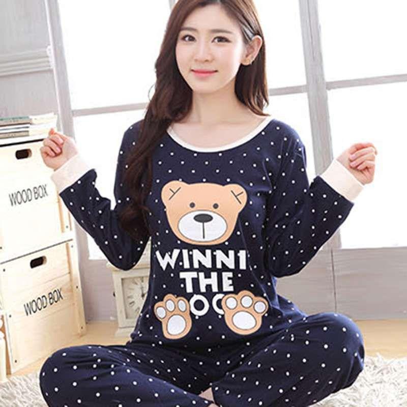 2018 Women's Cartoon Print Long Sleeves O Neck Autumn Winter   Pajama     Sets   Cartoon Sweet Loose Round Neck Sleepwear Full Length