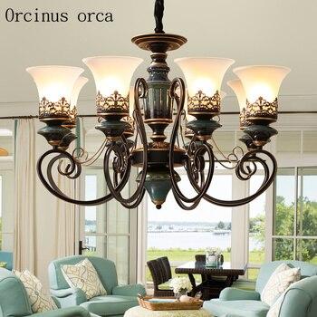 Amerikaanse luxe blauwe keramische kroonluchter woonkamer slaapkamer lamp Europese retro creatieve ijzer Kroonluchter gratis verzending
