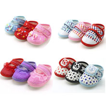 Baby Infant Shoes Girls Dot Lace Soft Sole Prewalker Warm Casual Flats Shoes Newborn Toddler First Walker Sole Anti-Slip BTTF(China)