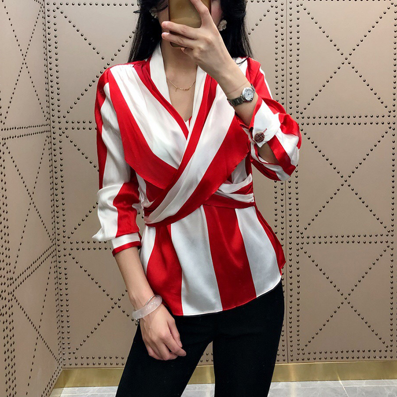 Cross Blouse Women Red White Striped Shirt Long Sleeve V neck Tops Casual Elegant 2018 Brand Silk Elegant Blouses Female