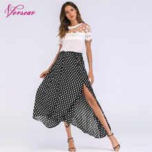 bdd3ac4fa0 Versear Vintage Boho Long Skirt Side Slit Asymmetric Hem Summer Chiffon  Skirt Women Plus Size High