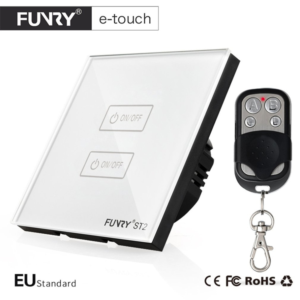 FUNRY ST2-2-R EU Intelligent Glass Panel Smart Remote Control Touch Switch Waterproof Shiny Panel LED Wall Touch Switch smart home eu touch switch wireless remote control wall touch switch 3 gang 1 way white crystal glass panel waterproof power