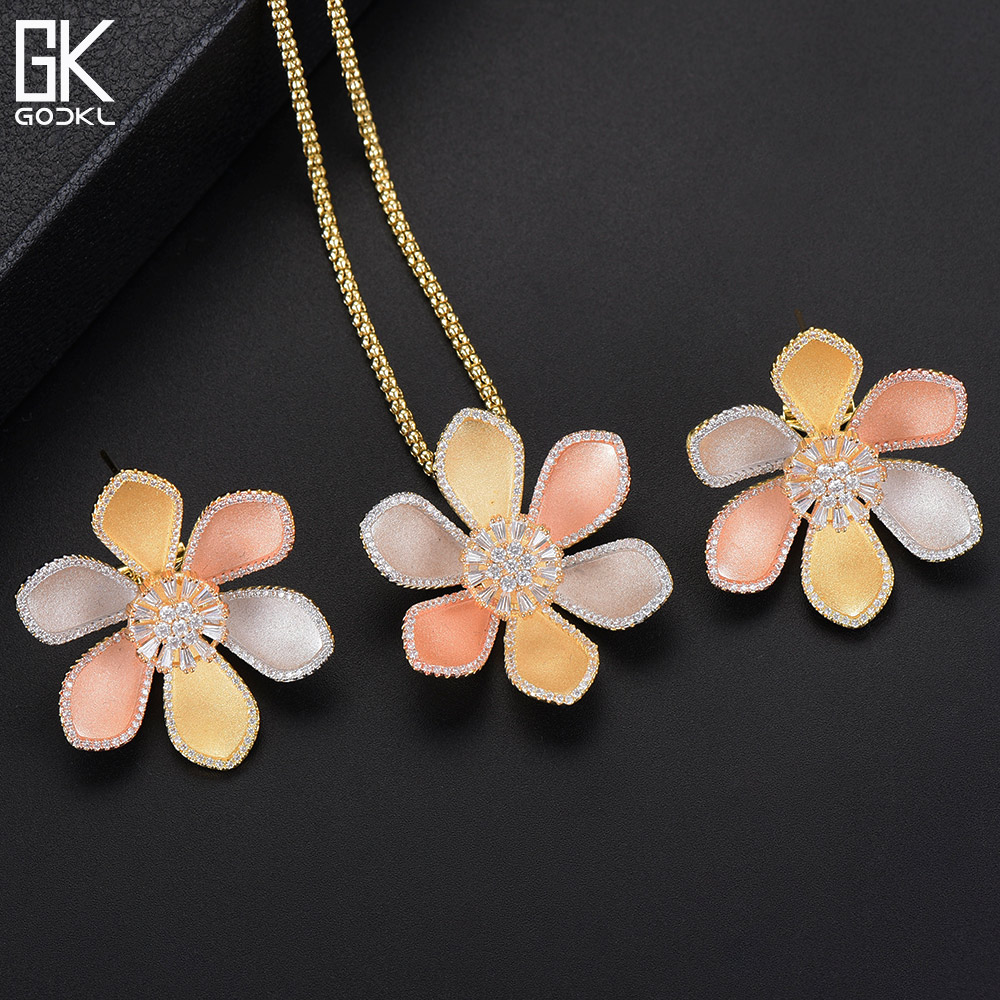 GODKI Luxury Flower Blossom Necklace Earring Sets Cubic Zircon Crystal jewelry Sets for women Wedding India Bridal Jewelry Sets все цены