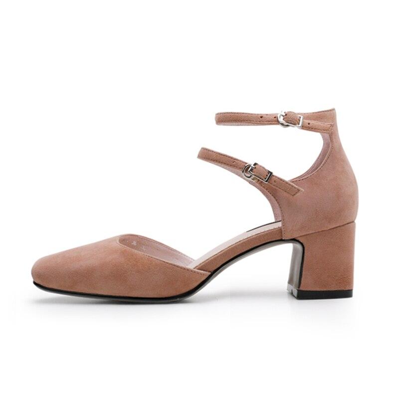 ISNOM Große Größe 40 Ankle Strap High Heels Sandalen Frauen Spitz Kid Wildleder Schuhe Mode 2018 Sommer Büro Weibliche schuhe-in Hohe Absätze aus Schuhe bei  Gruppe 2