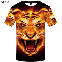 KYKU Brand Tiger Shirt Flame Clothing Black Tshirt Streetwear Hip Hop T shirt Men  3d T-shirt Animal Summer Casual Wear 2018 New