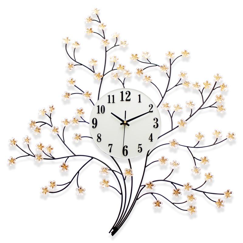 Metal Wrought Iron Branch Mute 3D Clock Simple Creative Wall Clock Modern Home Clock Fashion Decorative Quartz Clock 2019 Hot
