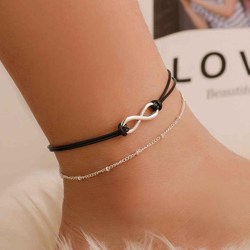 ฤดูร้อนสไตล์ทอง/เงินสี Layered Chain Infinity Charm Anklets สำหรับผู้หญิงข้อเท้าสร้อยข้อมือเท้า halhal enkelbandje