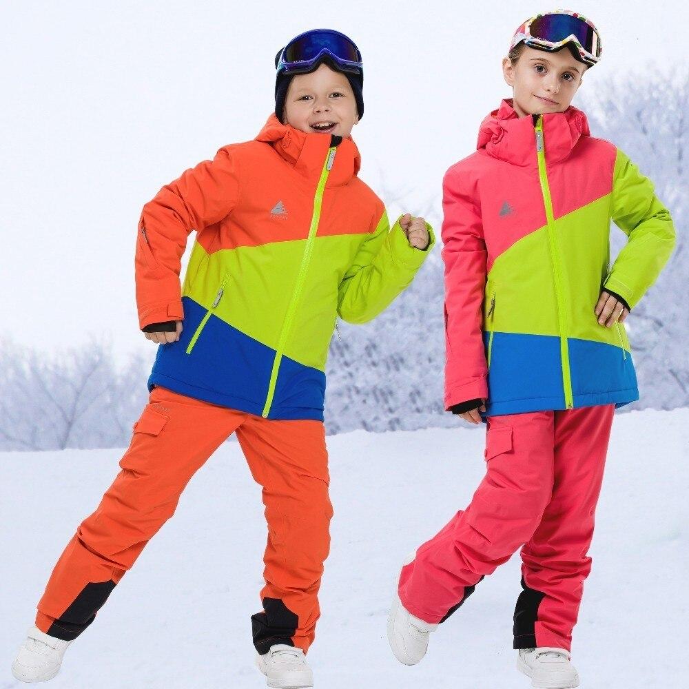 Вектор Дети Лыжный спорт открытый непромокаемые Сноубординг куртки брюки комплект лыжный костюм зимняя теплая детская одежда для мальчико