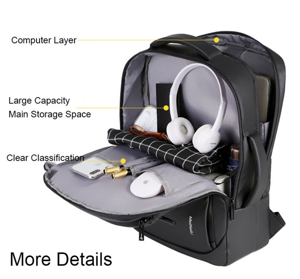 17 Inch Laptop Backpack 15.6 Mens Male Backpacks Business Notebook Mochila Waterproof Back Pack USB Charging Bags Travel Bagpack (4)