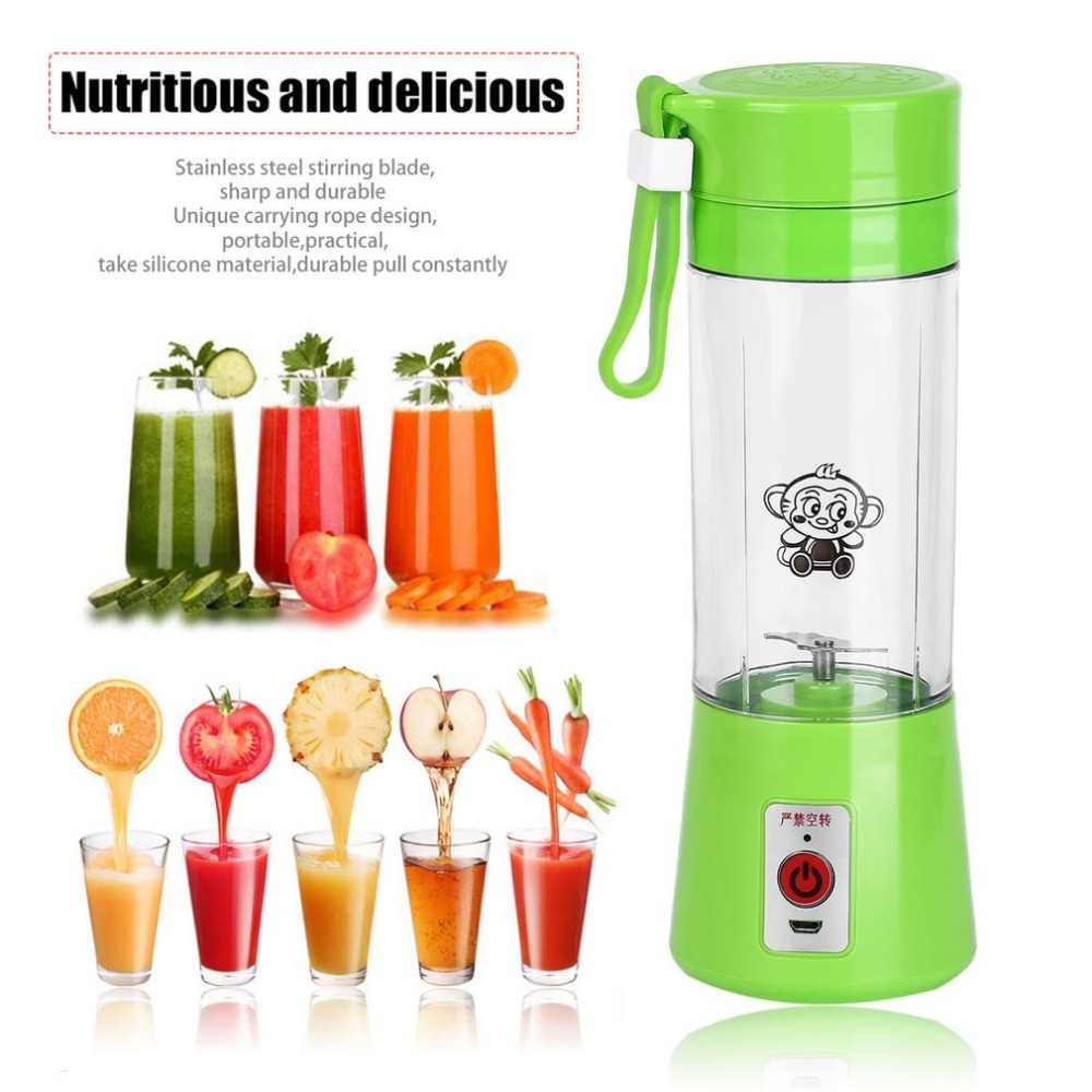Portable 380ml USB Electric Fruit Juicer Handheld Smoothie Maker Blender Rechargeable Mini Portable Juice Cup Water Bottle kkstar fruit electric juice cup glass charging portable mini mini cyclone