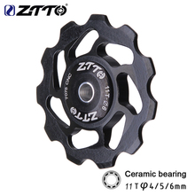 ZTTO 11T MTB Mountain Bicycle Rear Derailleur Ceramic Bearing Pulley Road Bike Aluminium Alloy 7075 CNC Guide Wheel 4mm/5mm/6mm