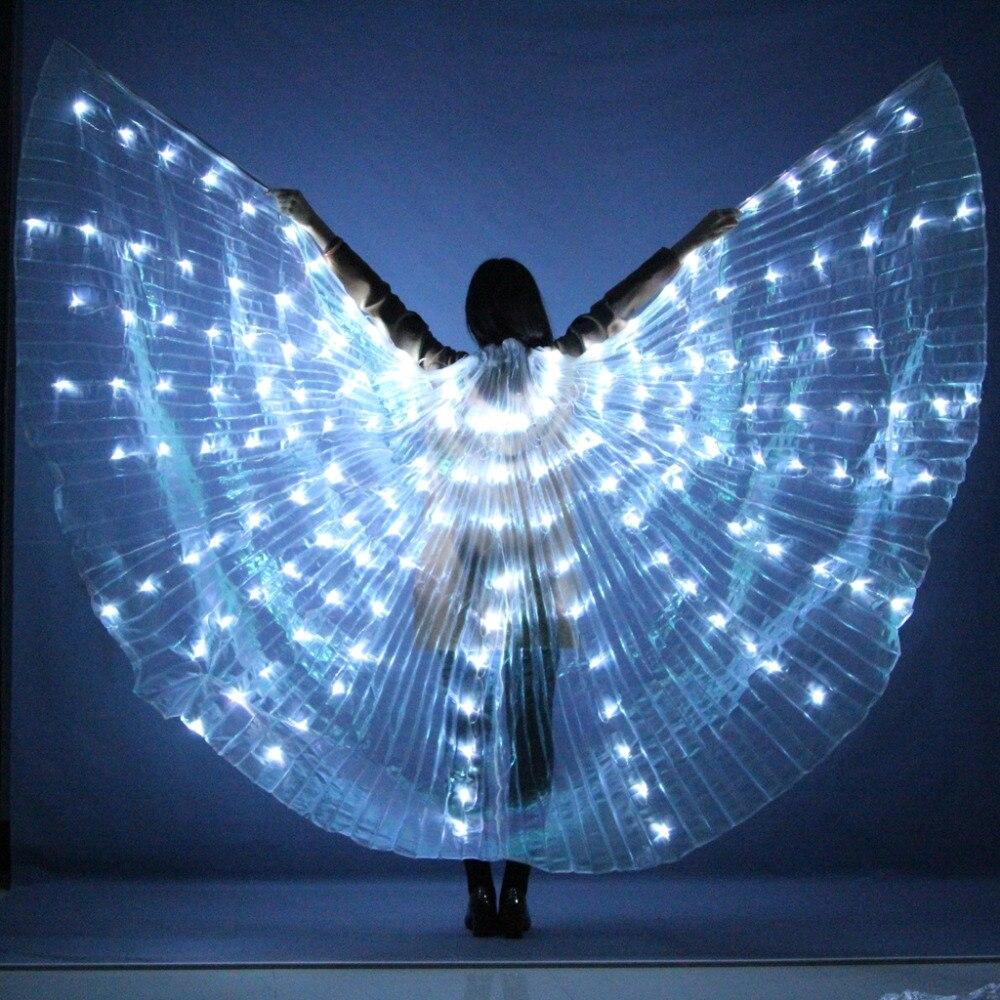 Новый женский танец живота лампа реквизит открытым 360 градусов Светодиодные блестящими крыльями для девочек Крылья угол открытия Танцы R ре...