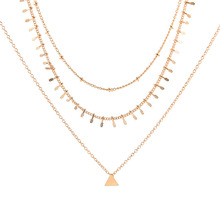 Simple Geometric Triangle Collar Chain Necklace Women Fashion Multilayer Clavicle Choker Jewelry