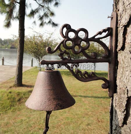 Cast Iron Welcome Dinner Bell Plum Flower Simple Rustic Hanging Decorative Door Bell Outdoor Garden Porch Patio Free Shipping