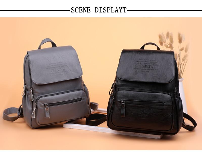 HTB1TTucRY2pK1RjSZFsq6yNlXXaB 2019 Women Leather Backpacks High Quality Ladies Bagpack Luxury Designer Large Capacity Casual Daypack Sac A Dos Girl Mochilas