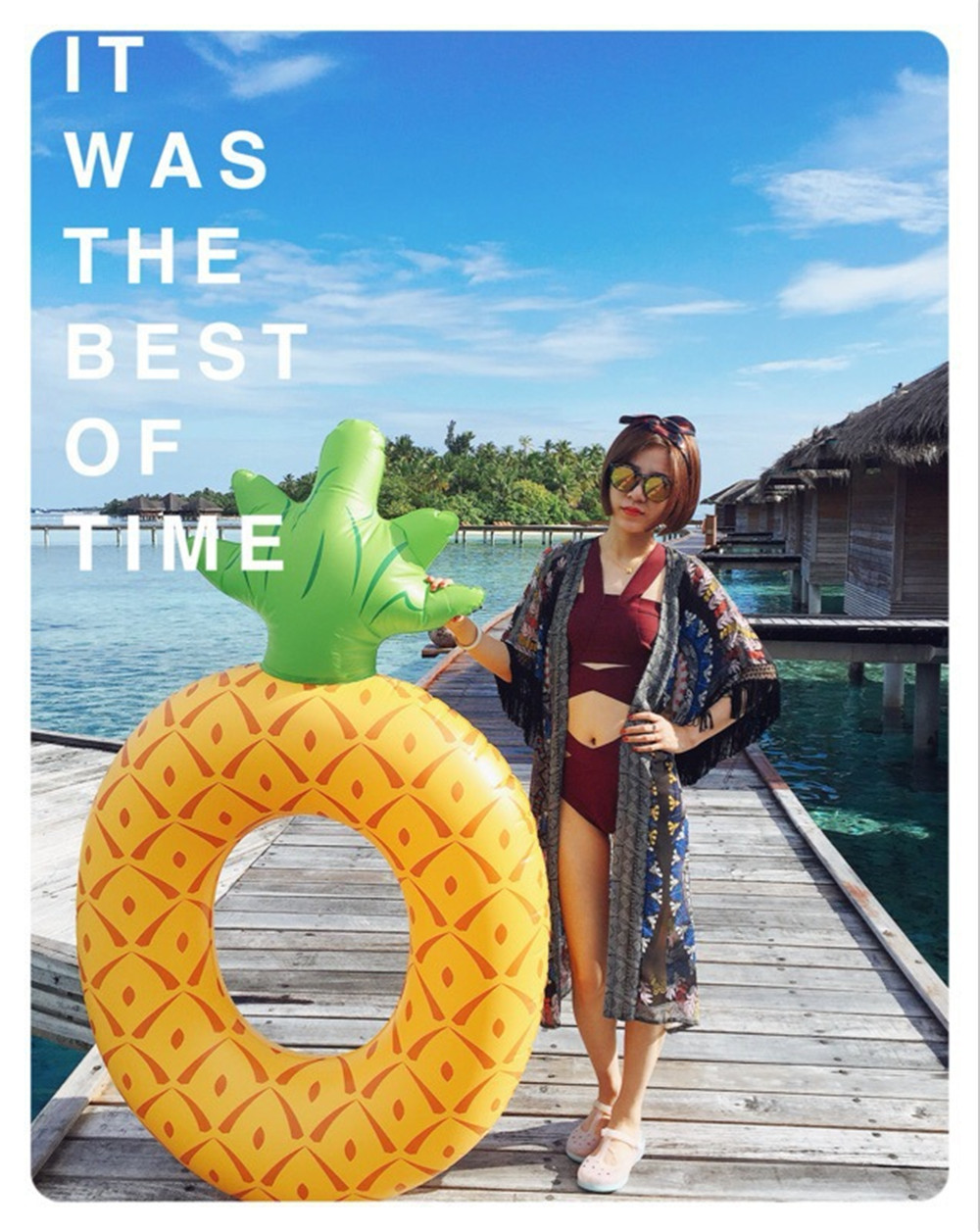 cosplay Inflatable pineapple Swimming Ring Giant Pool Float Water Toys Inflatable Inflatable Mattress For Kids Adults Beach Sea
